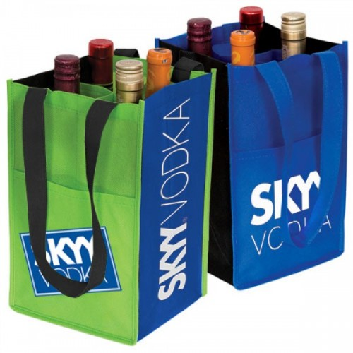 4-Bottle Contrast Wine Bags - W2