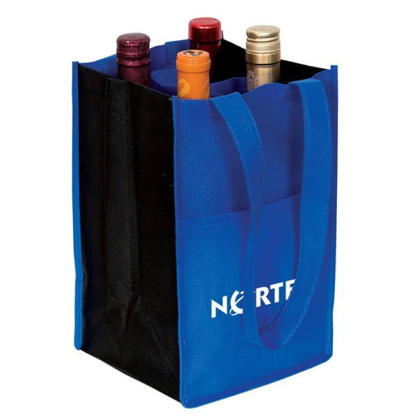 4 Bottle Contrast Wine Bags Custom Reusable Wine Totes