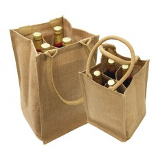 4-Bottle Natural Wine Totes - Jute 2 - W17