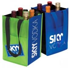4-Bottle Contrast Wine Bags - W2